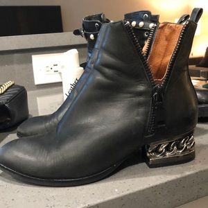 Jeffrey Campbell black boots with chain heel